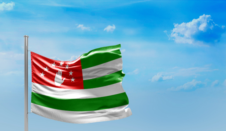 Flag of Abkhazia on cloudy sky