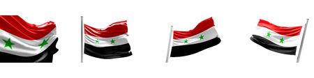 Set Flags of Syria on white background. 3D illustration