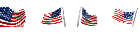 Set Flags of United States of America on white background. 3D illustration