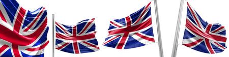 Set Flags of United Kingdom on white background. 3D illustration