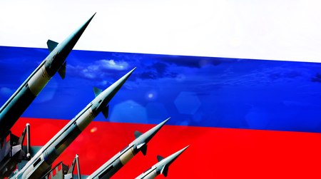 Nuclear missiles and Russia flag in background