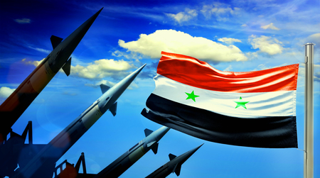 Flag of Siria and Nuclear missiles on sky background. War concept Banque d'images