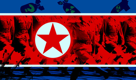 North Korea flag and  Nuclear missiles and bomb in background Imagens