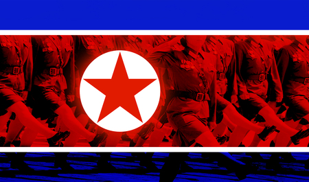 North Korean Soldiers And Flag.  Аrmed force of  North Korea Imagens