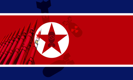North Korea flag and  Nuclear missiles and bomb in background Imagens - 122578377