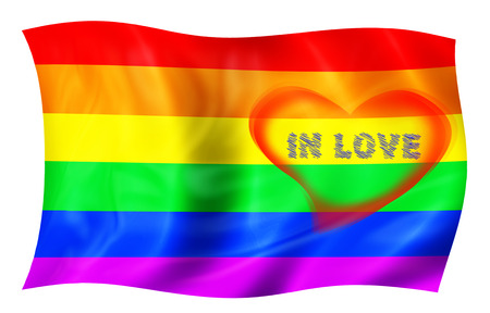 Rainbow flag of lgbt freedom with pink hearts. Isolated on white background