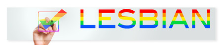 Hands with marker and Checkbox with the rainbow colors words LESBIAN