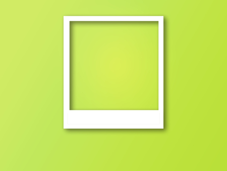 Photo frame with space for text and soft shadow isolated on trendy color background.