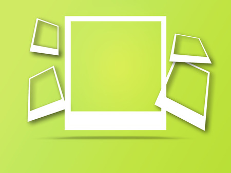 Photo frames with space for text and soft shadow isolated on trendy color background.