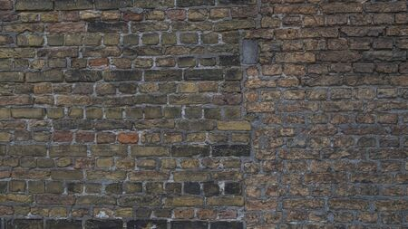 Old stone wall background. Background with Old Vintage Dirty Brick Wall, Texture. Shabby Building Facade  Standard-Bild