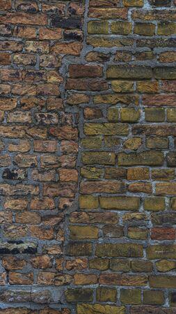 Alte Steinmauer Hintergrund. Hintergrund mit Old Vintage Dirty Brick Wall, Textur. Schäbige Gebäudefassade