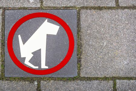 A sign on the sidewalk of dog walking is prohibited. View from above
