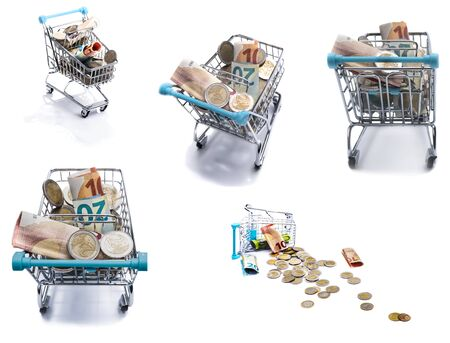 Set of shopping carts.  Ideas about shopping, finance, buisness, online shopping, commercial activity, e-commerce, banking and business concepts. Shopping trolley  for supermarket with money and coins isolated on white background. Foto de archivo