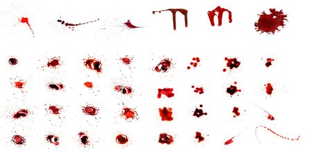 Blood dripping set. Blood splatters. Drop and blob of blood. Bloodstains. Red puddles. isolated on white background