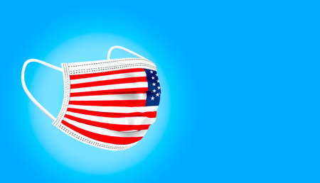 Medical mask with flag of USA on blue gradient background. Health care and medical concept. Coronavirus in US.