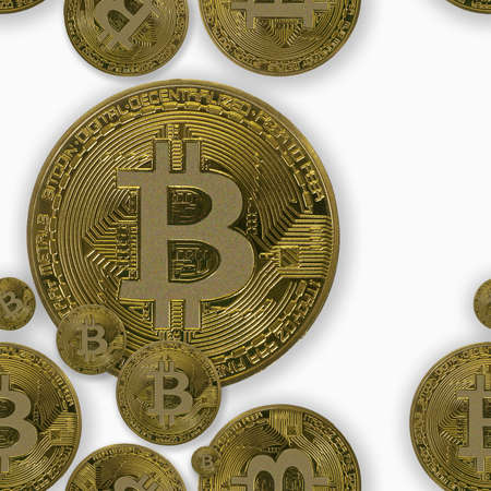 Seamless financial pattern. Bitcoins on white background. Seamless financial pattern with bitcoin for packaging
