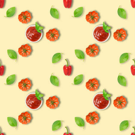 Repetitive pattern. Seamless photographic pattern with tomato, paprika, ketchup and basil. Fresh vegetable on seamless wallpaper