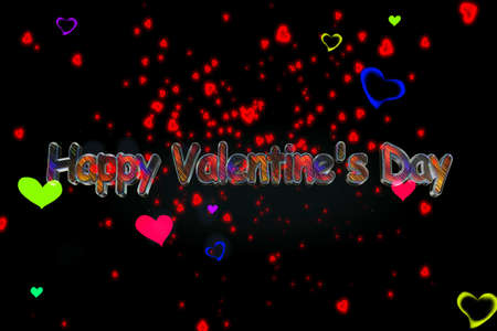 Тhe words Happy Valentine's Day against motley hearts floating on a black screen background