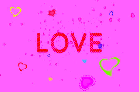 Word LOVE and Abstract motley hearts floating on pink screen background. Valentine's Day Background Archivio Fotografico