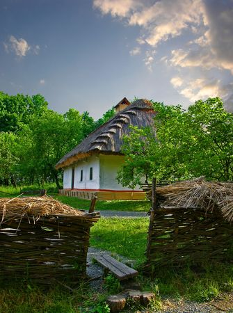 Country house in Pirogovo village (Ukraine) Stock Photo