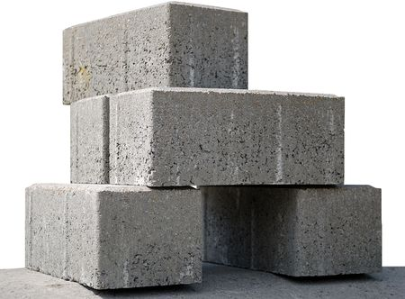 concrete panels, prepared to setting on building Stock Photo