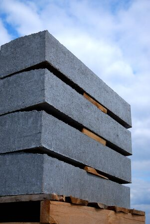 concrete panels, prepared to setting on building Stock Photo - 3025378