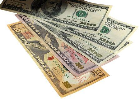 Banconote degli Stati Uniti d'America - di dollari. Ci sono inclusi 100, 50, 10 dollari di fatture con ombra  Archivio Fotografico - 3104118