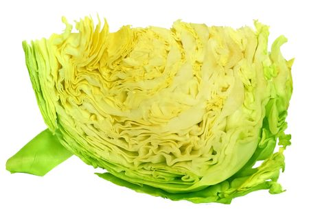 underlying: part of fresh head of cabbage with a visible underlying structure