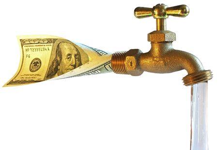 source d eau: robinet, le traitement de dollars dans l'eau  Banque d'images