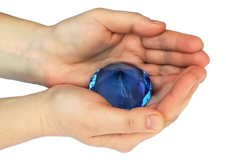 radiative: a magic blue pyramid in the hands.Crystal, radiative power