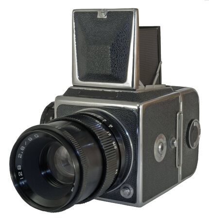 teknik: Old photographic camera with lens close up Stockfoto