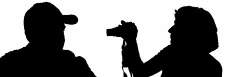 silhouette men and women with a camera Stock Photo - 3313518