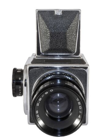 Old photographic camera with lens close up Stock Photo - 3549015