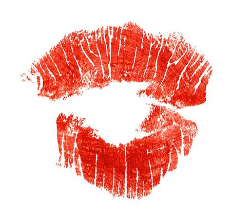 Kiss. Imprint of lipstick in form kiss. Stock Photo - 3563973
