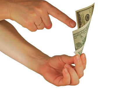 womanish: a womanish hand holds a money note  Stock Photo