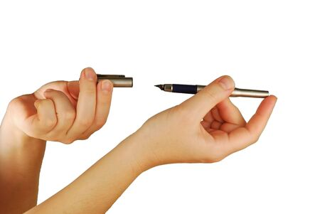 womanish: a womanish hand with an ink pen Stock Photo