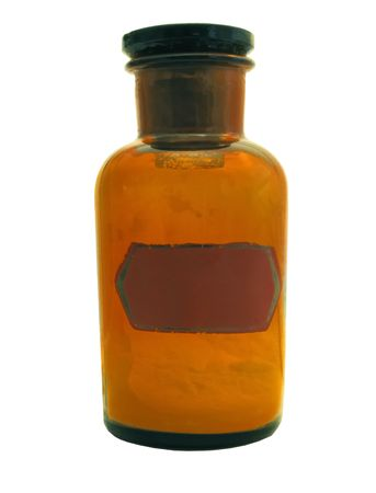 age-old glass large bottle for storage of powders Stock Photo