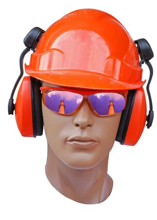 a head of model is in a orange build helmet Stock Photo - 3794574