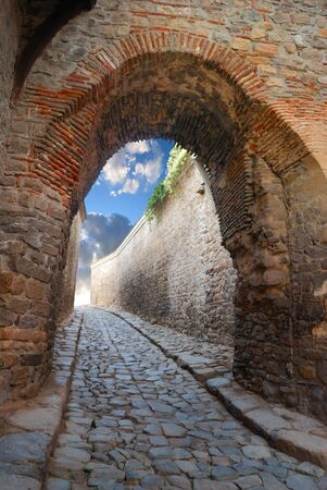 fantastic stone passage in an ancient stronghold