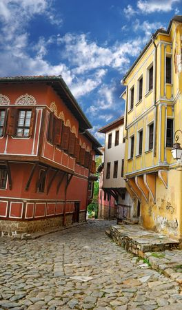 an old city, historical buildings, is in Plovdiv (Bulgaria) Stock Photo