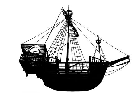 Dark silhouette of the ancient sailing ship on a white background photo
