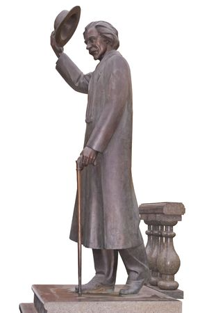 yiddish: monumento di Sholom Aleichem - il famoso scrittore ebreo, a Kiev (Ucraina)
