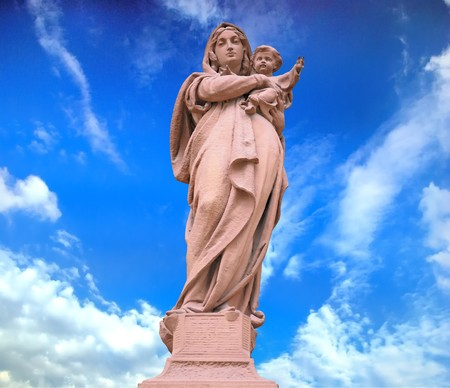 Statue of Divine Mother, architectural detail on a white background