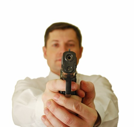 The man in a white shirt and a tie holds a pistol Stock Photo - 4168068