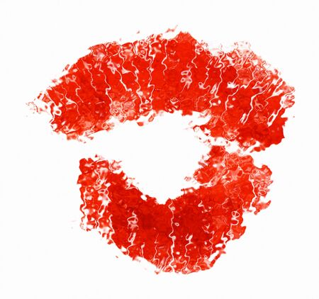 Kiss. Imprint of lipstick in form kiss. Stock Photo - 4169583