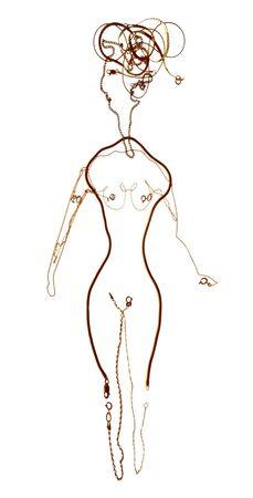 joyas de oro: cadenas de oro en forma descompuesta figura femenina Foto de archivo