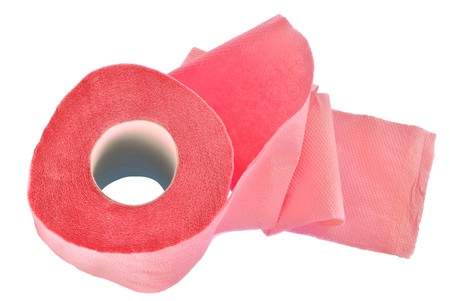 ply: pink toilet paper roll isolated on a white background Stock Photo