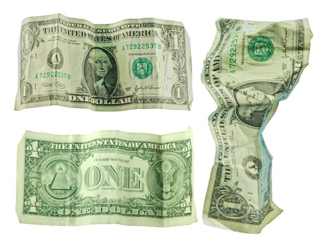 Dirty and crushed banknotes of USA - dollars. 1 dollar bill Stock Photo - 4169642