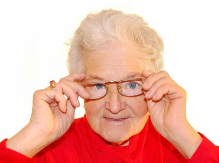 a portrait of elderly woman is in red Stock Photo - 4237958