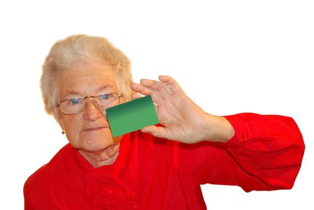 a portrait of elderly woman is in red Stock Photo - 4237959